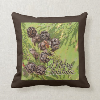 Small Pine Cone Rustic Merry Christmas Pillow