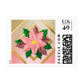 SMALL Pink and Gold Poinsettia Postage