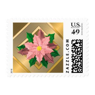 SMALL Pink and Gold Poinsettia Stamps