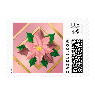 SMALL Pink and Gold Poinsettia Postage Stamp