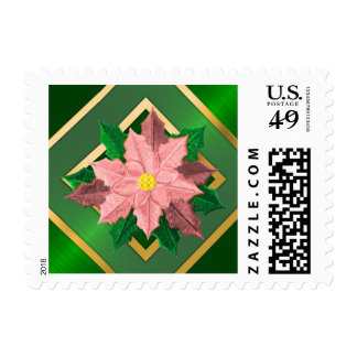 SMALL Pink and Gold Poinsettia Postage Stamps