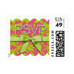 SMALL Pink and Green Damask Brocade Baroque Stamp
