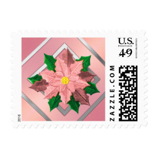 SMALL Pink and Silver Poinsettia Postage