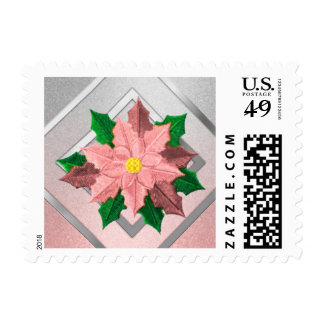 SMALL Pink and Silver Poinsettia Stamps