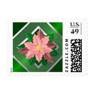 SMALL Pink and Silver Poinsettia Postage Stamp