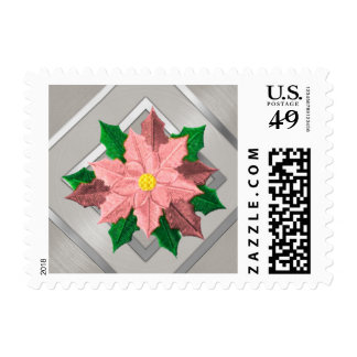 SMALL Pink and Silver Poinsettia Postage Stamps
