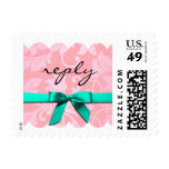 SMALL Pink and Teal Damask Brocade Reply Postage Stamp