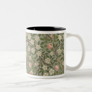 Small pink and white flower wallpaper design Two-Tone coffee mug