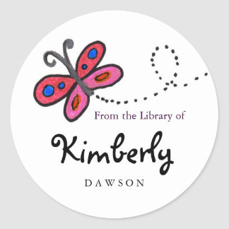 Small Pink Butterfly Book Labels