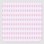 Small Pink Flower Pattern. White & Lilac. Square Sticker
