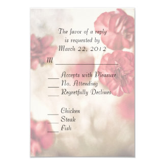 Small Pink Flowers Wedding 3.5x5 Paper Invitation Card