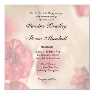 "Small Pink Flowers Wedding Invitations 5.25"" Square Invitation Card"