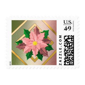 SMALL Pink Green and Gold Poinsettia Postage