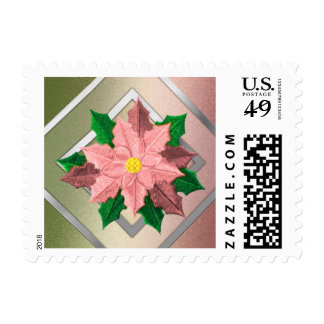 SMALL Pink Green and Silver Poinsettia Postage