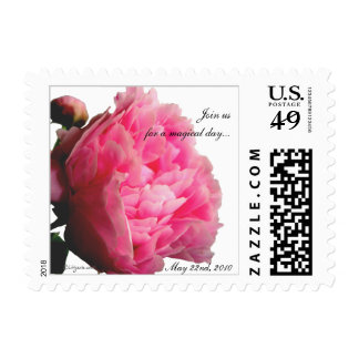 Small Pink Peony Postage Square Custom Stamps
