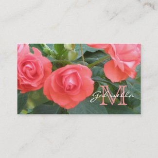 Small Pink Rose: Monogram Business Cards