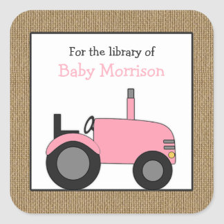 Small pink tractor library bookplate