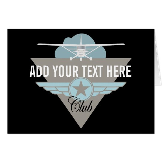 Small Plane Club Your Text Here Card