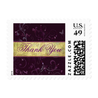 Small Plum & Gold Thank You Stamp