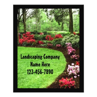 "Small Plush Green Landscape Lawn Care Business 4.5"" X 5.6"" Flyer"