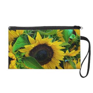 Small pocket sunflowers wristlet