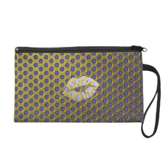 Small pocket with wrist-strap Gold Blue Wristlet Purse