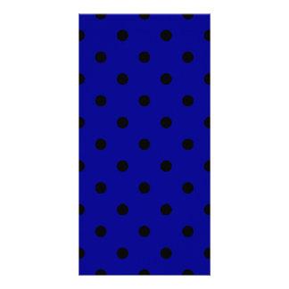 Small Polka Dots - Black on Dark Blue Card