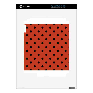 Small Polka Dots - Black on Dark Pastel Red Decal For The iPad 2