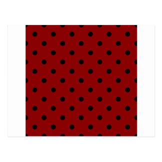 Small Polka Dots - Black on Dark Red Postcard