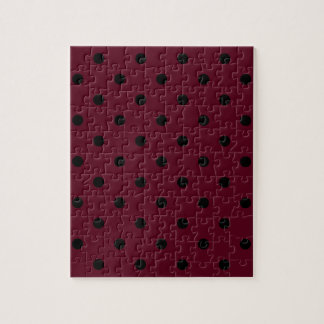 Small Polka Dots - Black on Dark Scarlet Jigsaw Puzzle