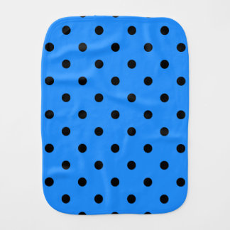 Small Polka Dots - Black on Dodger Blue Baby Burp Cloth