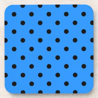 Small Polka Dots - Black on Dodger Blue Coaster