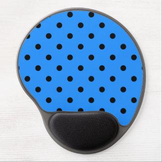 Small Polka Dots - Black on Dodger Blue Gel Mouse Pad
