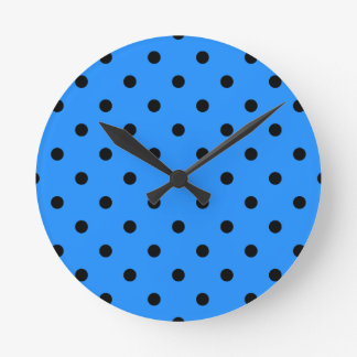 Small Polka Dots - Black on Dodger Blue Round Clock