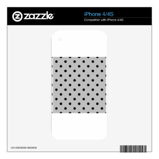 Small Polka Dots - Black on Light Gray Decals For The iPhone 4S