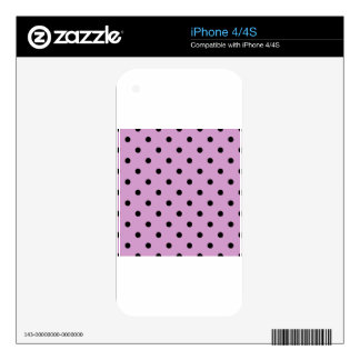 Small Polka Dots - Black on Light Medium Orchid Skins For iPhone 4