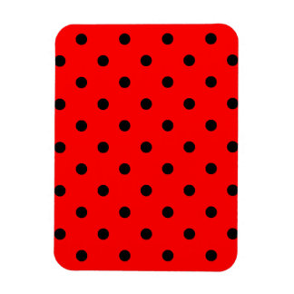 Small Polka Dots - Black on Red Magnet
