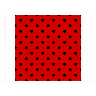 Small Polka Dots - Black on Rosso Corsa Postcard