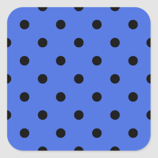 Small Polka Dots - Black on Royal Blue Square Sticker