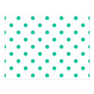 Small Polka Dots - Caribbean Green on White Postcard