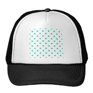 Small Polka Dots - Caribbean Green on White Trucker Hat