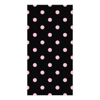 Small Polka Dots - Cotton Candy on Black Card