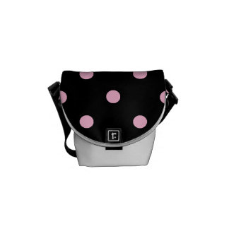 Small Polka Dots - Cotton Candy on Black Messenger Bag