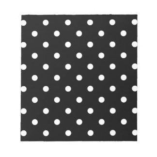 Small Polka Dots - Cream on Black Notepad