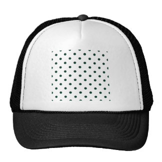 Small Polka Dots - Dark Green on White Trucker Hat