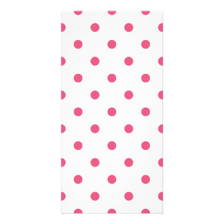 Small Polka Dots - Dark Pink on White Card