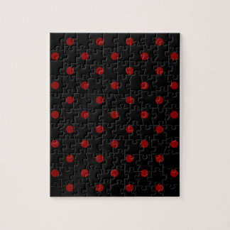 Small Polka Dots - Dark Red on Black Jigsaw Puzzle