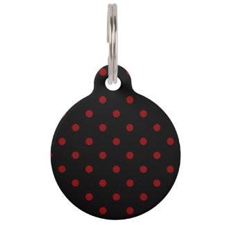 Small Polka Dots - Dark Red on Black Pet ID Tag