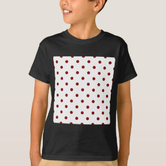 Small Polka Dots - Dark Red on White T-Shirt