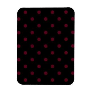 Small Polka Dots - Dark Scarlet on Black Magnet